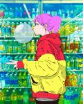 1girl backside_works black_eyes bottle bubble bubble_blowing chewing_gum from_side highres jacket original pants pink_hair ponytail shop short_hair soda_bottle solo v water_bottle