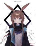 1girl amiya_(arknights) animal_ear_fluff animal_ears arknights ascot bangs black_jacket black_neckwear brown_hair closed_mouth copyright_name eyebrows_visible_through_hair grey_eyes hair_between_eyes highres jacket long_hair looking_at_viewer moffle_(ayabi) open_clothes open_jacket ponytail purple_neckwear rabbit_ears shirt sidelocks solo upper_body very_long_hair white_background white_shirt