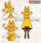 1girl black_eyes blonde_hair copyright_name covered_mouth dress english_commentary flipped_hair gloves hat high_collar highres joints mario_(series) olivia_(paper_mario) paper_mario paper_mario:_the_origami_king paperrose personification solo white_gloves wide_sleeves yellow_dress yellow_headwear |_|