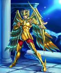 1boy blonde_hair blue_eyes bow_(weapon) breastplate closed_mouth column faulds gauntlets gold_armor gold_saint holding holding_bow_(weapon) holding_weapon kotatsu_(g-rough) legs_apart looking_at_viewer male_focus metal_boots pants pegasus_seiya pillar pointing pointing_at_viewer red_pants saint_seiya shoulder_armor solo spaulders weapon wings