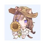 1girl animal animal_ears bangs bare_arms bare_shoulders blue_background blush blush_stickers bow braid brown_hair brown_headwear cat cat_ears cat_girl cat_tail chibi commentary_request dress ears_through_headwear eyebrows_visible_through_hair flower full_body hair_bow hat hat_bow holding holding_flower leo_(mafuyu) long_hair looking_at_viewer lowres mafuyu_(chibi21) multicolored_hair original parted_lips pink_bow purple_hair sleeveless sleeveless_dress solo standing straw_hat streaked_hair sunflower tail twin_braids twitter_username two-tone_background very_long_hair violet_eyes white_background white_cat white_dress white_footwear yellow_flower