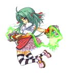 1girl dual_wielding electricity green_hair hikaru_(mini_fighter) knife looking_at_viewer mini_fighter official_art pink_ribbon pink_shoes pink_skirt side_view skirt smile solo striped_legwear thigh-highs twintails violet_eyes