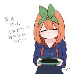 1girl bangs blue_hoodie blush closed_eyes closed_mouth clothes_writing collarbone commentary_request drawstring eyebrows_behind_hair facing_viewer go-toubun_no_hanayome green_ribbon hair_between_eyes hair_ribbon handheld_game_console holding hood hood_down hoodie kujou_karasuma nakano_yotsuba orange_hair ribbon signature simple_background solo tears translation_request upper_body white_background