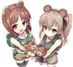 2girls animal_ears backpack bag bandages bandaid bangs bear_ears bear_tail belt black_choker black_gloves black_legwear black_ribbon boko_(girls_und_panzer) brown_eyes brown_hair brown_shorts camouflage camouflage_shirt carrying choker closed_mouth dog_tags eyebrows_visible_through_hair fake_animal_ears fake_tail fingerless_gloves girls_und_panzer gloves green_shirt grey_belt grey_jacket hair_ribbon highres holding holding_stuffed_animal jacket kasai_shin light_blush light_brown_hair long_hair looking_at_viewer midriff multiple_girls navel nishizumi_miho one_side_up open_mouth pouch ribbon shimada_arisu shirt short_hair short_shorts shorts side-by-side simple_background sleeveless sleeveless_jacket smile standing stuffed_animal stuffed_toy tail tank_top teddy_bear thigh-highs thigh_strap throat_microphone white_background white_legwear white_shirt