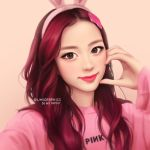 1girl animal_ears artist_name blackpink brown_eyes ears fake_animal_ears group_name hair_ornament hair_over_shoulder hand_on_own_cheek headband jisoo_(blackpink) logo long_hair pink_background pink_sweater rabbit_ears redhead simple_background smile solo sweater umigraphics wavy_hair