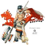 1boy abs animal_on_shoulder axe bara bird bird_on_shoulder black_hair cape company_name dare_ga_tame_no_alchemist fox full_body holding holding_axe japants male_focus muscle navel official_art owl red_cape scar solo standing toeless_legwear watermark