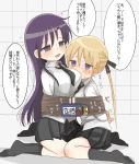 2girls bdsm blonde_hair blue_eyes blush bomb bondage bound goshiki_agiri hair_ribbon highres hozonsui kill_me_baby kneeling long_hair multiple_girls necktie open_mouth purple_hair ribbon rope school_uniform skirt socks sonya_(kill_me_baby) sweat tied_up timer translation_request twintails violet_eyes