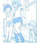 +++ 1boy 2girls :d bangs bare_shoulders between_breasts blue_theme blush breasts closed_eyes clothes_writing escalator eyebrows_visible_through_hair fujisaka_lyric indoors monochrome multiple_girls open_mouth original shirt shoes short_shorts short_sleeves shorts skirt small_breasts smile socks standing strap_between_breasts sweat tank_top twintails