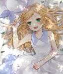 1girl blonde_hair blush commentary day dress green_eyes hat headwear_removed lillie_(pokemon) long_hair looking_at_viewer lying on_back open_mouth ore_(pink2521) outdoors pokemon pokemon_(game) pokemon_sm shade sleeveless sleeveless_dress smile solo sun_hat sundress sunlight white_dress white_headwear