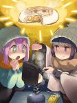 2girls beanie blush butter butter_knife camping commentary_request cooking food hat highres kagamihara_nadeshiko minawa multiple_girls portable_stove scarf shima_rin smirk sparkling_eyes sweatdrop translated yurucamp