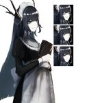 1girl black_hair book closed_eyes closed_mouth dragon_girl expressions green_eyes holding holding_book horns long_hair maid maid_headdress open_eyes original parted_lips simple_background smile solo standing sutorobo72 tachi-e white_background