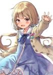 1girl :d bangs blue_bow blue_dress blush bow brown_eyes commentary_request dress eyebrows_visible_through_hair futaba_anzu hair_bow hand_up idolmaster idolmaster_cinderella_girls light_brown_hair long_hair long_sleeves looking_at_viewer low_twintails midorikawa_you open_mouth outstretched_arm sailor_collar sailor_dress simple_background sleeves_past_wrists smile solo striped striped_bow twintails very_long_hair white_background white_sailor_collar