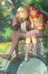 2girls arknights blonde_hair blue_eyes bubble_blowing durin_(arknights) dwarf eating food food_on_face forest green_eyes hamburger long_sleeves multiple_girls myrtle_(arknights) nature pointy_ears qianjingya redhead shoes sneakers socks tank_top thigh-highs