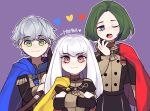 1girl 2boys artist_name ashe_ubert blue_cape bow_(weapon) cape closed_mouth crossed_arms fire_emblem fire_emblem:_three_houses garreg_mach_monastery_uniform green_eyes green_hair grey_hair highres holding holding_bow_(weapon) holding_weapon lazymimium linhardt_von_hevring long_hair long_sleeves lysithea_von_ordelia multiple_boys one_eye_closed open_mouth pink_eyes red_cape short_hair simple_background smile uniform upper_body weapon white_hair yellow_cape