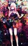 1girl aqua_nails black_dress blue_eyes colorful dress feet_out_of_frame guitar half-closed_eyes hand_up highres holding holding_instrument initial instrument leia_(vocaloid) long_hair megurine_luka nyakkunn open_mouth pink_hair standing very_long_hair vocaloid