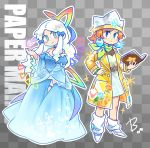 2girls beco_(100me) blue_dress blue_eyes book boots bow checkered checkered_background copyright_name crown dress earrings green_scarf hair_bow hair_ribbon highres jacket jewelry kersti_(paper_mario) mario_(series) multiple_girls orange_hair outline paper_mario paper_mario:_sticker_star patterned_background personification pointy_ears rainbow_print ribbon scarf see-through short_hair sidelocks signature sticker super_paper_mario tippi_(paper_mario) tress_ribbon white_footwear white_hair white_outline yellow_jacket