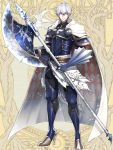 1boy argyle_cape armor axe cape dairoku_youhei full_body gauntlets gloves grey_eyes hair_between_eyes high_heels holding holding_axe looking_at_viewer male_focus morino_bambi simple_background solo standing weapon white_cape white_hair