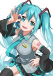 1girl blue_hair blue_nails boots breasts copyright_name detached_sleeves floating_necktie from_above hand_on_hip hatsune_miku highres hyyeua leg_up long_hair looking_up medium_breasts necktie ok_sign smug solo tattoo thigh-highs thigh_boots twitter_username very_long_hair vocaloid white_background