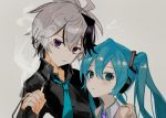 2girls absurdres androgynous aqua_eyes aqua_hair aqua_neckwear bare_shoulders black_shirt cigarette commentary crying crying_with_eyes_open flower_(vocaloid) grey_shirt hair_ornament hand_on_another's_shoulder hatsune_miku headphones highres holding holding_cigarette long_hair looking_at_viewer multicolored_hair multiple_girls necktie note55885 parted_lips purple_hair purple_neckwear ringed_eyes shirt short_hair sketch sleeveless sleeveless_shirt smoke streaked_hair tears twintails upper_body v_flower_(vocaloid4) violet_eyes vocaloid white_hair