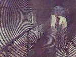 1girl bangs hood hood_down kaf_(kamitsubaki_studio) kamitsubaki_studio kitaru_(mabo_f) long_hair long_sleeves looking_at_viewer muted_color pink_hair sleeves_past_fingers sleeves_past_wrists solo standing tunnel wide_shot
