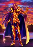 1boy armor boots breastplate character_request closed_mouth clouds cloudy_sky gold_armor gold_saint green_eyes hand_up highres kotatsu_(g-rough) long_hair male_focus pauldrons purple_hair saint_seiya shoulder_armor sky solo standing sunset thick_eyebrows