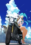 1girl absurdres aqua_eyes aqua_hair bird blue_sky clouds condensation_trail flower from_below ground_vehicle hat hat_flower hatsune_miku headlight highres long_hair looking_away looking_up midriff motor_vehicle motorcycle mountain navel pre_sktch road_sign sandals seagull shirt short_shorts shorts sign sitting sky smile solo straw_hat sunflower t-shirt tire train_station twintails vocaloid white_shirt
