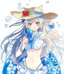 1girl :o animal_ears arm_up armpits bangle bare_shoulders bikini bikini_skirt blue_eyes bracelet bubble chiemo_(xcem) choker collarbone fake_animal_ears flower food hat hat_flower highleg holding jewelry long_hair looking_at_viewer midriff navel original parted_lips popsicle sailor_bikini sailor_collar scrunchie silver_hair solo stomach straw_hat swimsuit two_side_up upper_body very_long_hair white_bikini white_choker wrist_scrunchie