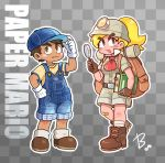 1boy 1girl backpack bag bandaid bandaid_on_knee baseball_cap beco_(100me) belt blonde_hair blue_headwear blush_stickers book boots brown_eyes brown_gloves brown_hair checkered checkered_background copyright_name dark_skin dark_skinned_male fang full_body gloves goombario goombella hat headlamp helmet highres mario_(series) overall_shorts overalls paper_mario paper_mario:_the_thousand_year_door paper_mario_64 personification ponytail shorts signature trait_connection white_gloves