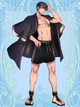 1boy black_hair blue_background full_body hand_up heterochromia jewelry kerberos_blade male_focus male_swimwear morino_bambi navel necklace sandals simple_background smile standing swim_trunks swimwear