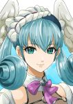 1girl aqua_eyes bangs blue_hair close-up eyebrows_visible_through_hair head_wings headdress looking_down melia solo tsukikage_oyama wings xenoblade_(series) xenoblade_1
