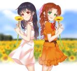 2girls aerith_gainsborough black_hair blurry blurry_background bow brown_hair dress drill_hair field final_fantasy final_fantasy_vii final_fantasy_vii_remake flower flower_field green_eyes hair_bow highres long_hair looking_at_viewer mogu_(kuromezennkainopokke) multiple_girls pink_bow red_eyes smile standing sunflower tifa_lockhart younger