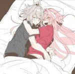 2boys alternate_hairstyle astolfo_(fate) bed bed_sheet black_shirt closed_eyes drooling fang fate/apocrypha fate_(series) grey_hair haoro hug long_hair multiple_boys open_mouth pale_skin pillow pink_hair red_shirt shirt short_hair sieg_(fate/apocrypha) sleeping t-shirt under_covers yaoi