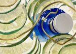 absurdres acrylic_paint_(medium) bottle_cap floating floating_object food fruit glass_bottle highres lime_(fruit) metal_wire no_humans original reflection senzaki-ryosuke shiny simple_background still_life traditional_media white_background wire
