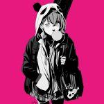1girl absurdres ahoge animal_ears animal_hood bag bangs bubble_blowing chewing_gum earphones earphones fish grey_eyes grey_hair hand_in_pocket highres hood hood_up hooded_jacket isle118 jacket keychain monochrome nijisanji panda panda_ears panda_hood pink_background sasaki_saku skirt thigh-highs virtual_youtuber