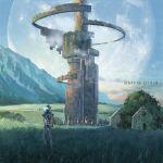clouds mac_naut meadow mecha original robot ruins scenery science_fiction sky sora_(arknights)