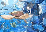 1girl :d absurdres artist_name black_hair blue_skirt building closed_eyes highres manta_ray nara_lalana open_mouth original skirt smile tropical_fish turtle water whale