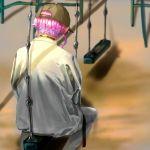 1boy amemura_ramuda baseball_cap chain collar from_behind hanging hat hypnosis_mic jacket outdoors pants pink_hair playground short_hair sitting sitting_sideways solo swing swing_set yoise