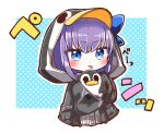 1girl absurdres animal_hood bangs black_jacket blue_background blue_bow blue_eyes blush bow chibi closed_mouth cropped_torso eyebrows_visible_through_hair fate/grand_order fate_(series) highres hood hood_up hooded_jacket jacket jako_(jakoo21) long_sleeves looking_at_viewer meltryllis meltryllis_(swimsuit_lancer)_(fate) penguin_hood polka_dot polka_dot_background puffy_long_sleeves puffy_sleeves purple_hair sidelocks sleeves_past_fingers sleeves_past_wrists solo stuffed_animal stuffed_penguin stuffed_toy tongue tongue_out translation_request two-tone_background upper_body v-shaped_eyebrows white_background