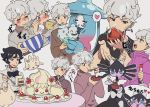 1boy 1girl alcremie beet_(pokemon) black_hair black_neckwear blush bow bowl bowtie cake cake_slice chopsticks closed_eyes commentary_request eating food gen_5_pokemon gen_8_pokemon gothitelle grey_hair hatterene heart highres holding holding_bowl holding_chopsticks holding_plate holding_spoon milcery nashubi_(to_infinity_wow) noodles open_mouth plate pokemon pokemon_(creature) pokemon_(game) pokemon_swsh poplar_(pokemon) short_hair spoon teeth tongue tongue_out translation_request vanilluxe violet_eyes white_background wooden_spoon younger