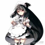1girl ahoge apron bangs black_dress black_hair bow character_request copyright_request dress dress_bow layered_dress long_hair maid_headdress red_eyes rella simple_background solo white_background white_bow wrist_cuffs