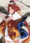 1girl animal benienma_(fate/grand_order) bird bird_hat brown_eyes brown_hair cowboy_shot fate/grand_order fate_(series) feather_trim hat hinomaru_(futagun) holding holding_animal holding_bird horns looking_at_viewer short_hair_with_long_locks single_horn smile sparrow wide_sleeves