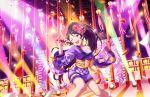 black_hair green_eyes idolmaster_cinderella_girls_starlight_stage long_hair ponytail smile sugisaka_umi wink yukata