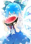 1girl blue_dress blue_eyes blue_hair bow cirno cowboy_shot detached_wings dress eating fang food fruit green_bow hair_bow highres holding holding_food ice ice_wings nikorashi-ka pointy_ears red_neckwear short_hair short_sleeves simple_background solo symbol_commentary touhou upper_body watermelon white_background wings