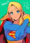 1girl blonde_hair blue_bodysuit blue_eyes bodysuit cape closed_mouth cross-body_stretch grey_background highres kotatsu_(g-rough) lips long_hair looking_at_viewer red_cape signature simple_background solo stretch supergirl superhero superman_(series) upper_body