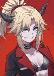 1girl bangs blonde_hair braid breasts eyebrows_visible_through_hair eyes_visible_through_hair fate/apocrypha fate_(series) french_braid green_eyes grin hair_ornament hair_scrunchie highres horns long_hair long_sleeves looking_at_viewer mordred_(fate)_(all) parted_bangs ponytail red_background red_scrunchie scrunchie sidelocks simple_background small_breasts smile tonee