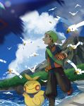 1boy backpack bag boat clouds commentary_request day flying gen_3_pokemon gloves hariiro_pon latios legendary_pokemon looking_to_the_side looking_up makuhita open_mouth outdoors pokemon pokemon_(creature) pokemon_(game) pokemon_emerald pokemon_rse running shoes shore short_sleeves sky volcano water watercraft wingull yuuki_(pokemon)