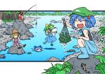 5girls bishamonten's_pagoda black_tank_top blue_bow blue_footwear blue_hair blue_skirt blue_vest blush boots bow brown_footwear brown_hair bucket cirno closed_eyes commentary commentary_request cucumber daiyousei day detached_sleeves detached_wings fairy_wings fishing fishing_rod forest frog_hair_ornament green_eyes green_hair green_headwear hair_bobbles hair_bow hair_ornament hakurei_reimu hat holding holding_fishing_rod ice ice_wings inuno_rakugaki kawashiro_nitori lizard long_hair long_sleeves moriya_suwako mountainous_horizon multiple_girls nature net outdoors ponytail purple_skirt purple_vest red_bow red_shirt red_skirt river shirt shoes short_hair sitting skirt socks swimming tank_top touhou two_side_up vest white_legwear white_shirt wide_sleeves wings yellow_bow yellow_neckwear
