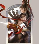 1girl ass back bayonetta bayonetta_(character) blue_eyes butt_crack firing from_behind glasses gun highres holding holding_gun holding_weapon honeybonesmaeda long_hair looking_back mole mole_under_mouth solo very_long_hair weapon witch