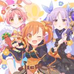 3girls absurdres animal_ears animal_hat belt black_cape black_gloves black_skirt blue_kimono blue_shorts braid breastplate brown_eyes cape capelet carrot elbow_gloves fake_animal_ears fingerless_gloves flower fur_trim gloves hair_flower hair_ornament hairband hat highres japanese_clothes kimono kyouka_(princess_connect!) leotard long_hair mimi_(princess_connect!) misogi_(princess_connect!) multiple_girls one_eye_closed open_mouth orange_leotard outstretched_arm pointing princess_connect! princess_connect!_re:dive purple_hair rabbit_ears ribbon ringo_yuyu shorts side_ponytail skirt smile sword thigh_gap twin_braids twintails very_long_hair wand weapon white_headwear