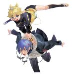 2boys aqua_eyes bandaid bandaid_on_knee bandaid_on_nose black_jacket black_legwear black_pants blonde_hair blue_eyes blue_hair cable falling glasses hair_ornament hairclip hands_on_another's_back headphones headphones_around_neck hopping jacket kagamine_len kaito kneehighs leap_frog male_focus multiple_boys naoko_(naonocoto) open_mouth outstretched_arms outstretched_legs pants red-tinted_eyewear school_uniform_parka_(module) short_ponytail shorts smile spiky_hair stylish_energy_(module) surprised track_jacket v-shaped_eyebrows vocaloid white_footwear white_hoodie